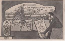 57-METZ- ETUDE DE CONSTRUCTION DE LA NOUVELLE GARE - TRES BELLE CARTE - Metz