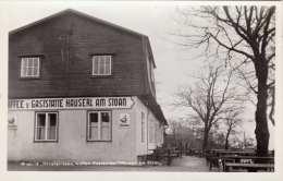 WIEN Höhenstrasse Gasthaus HÄUSERL AM STOAN, Fotokarte 1953 - Überschwemmungen