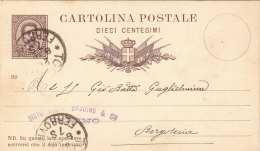 ITALIEN 1889 - 10 C Ganzsache Gel.v.Torino Nach Borgoteria - 1878-00 Humbert I.