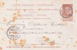 BELGIEN 1896 - 10 C Ganzsache Gel.von Gand Station Nach Basel, Karte Fleckig - Ganzsachen