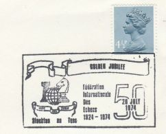1974 GB COVER Chess FEDERATION INTERNATIONAL DES ECHECS 50th ANNIV EVENT Stockton On Tees Pmk Stamps - Chess