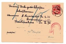 SCHWEIZ SUISSE SUIZA 1902 NACHNAHME KARTE GEPRÜFT STADT SENDUNG IN SCHAFFHAUSEN - Brieven En Documenten