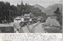 BRÜNIGBAHN → Station Brünig Mit Restaurant , Handcolorierter Lichtdruck 1903 - BE Bern