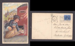 Netherlands Post Lady Empty Post Box Domestic Used1952 SGRAVENHAAG - Postal Services