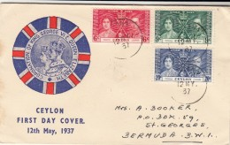 Ceylon / 1937 Coronation Postmarks / Bermuda - Timbres