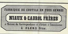 LETTRE DE VOITURE ROULAGE TRANSPORT 1861 FABRIQUE COUTILS TOILES DE COTON NIAUX ET CABROL FRERES FLERS Orne. V.SCANS - 1800 – 1899