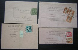 Lot De 4 Avis Avec Timbres Oblitérés AR Voir Photo - 1921-1960: Période Moderne