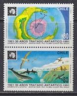 Chile 1991 Antarctic Treaty 2v (se-tenant) ** Mnh (32308) - Chili