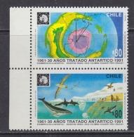 Chile 1991 Antarctic Treaty 2v (se-tenant) (margin)  ** Mnh (32308A) - Chili