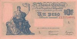 ARGENTINA 1 PESO 1948 P-257a UNC SERIES L, SIGN: CARRERAS & MAROGLIO [ AR257a1 ] - Argentina
