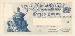 ARGENTINA 5 PESOS 1951 P-264b AU SIGN: DITARANTO & BARNET [ AR264b6 ] - Argentina