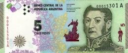 ARGENTINA 5 PESOS ND (2015) P-359a UNC SERIES A, SIGN: VANOLI &  BOUDOU [ AR359a ] - Argentinië