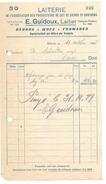 F23 - Facture Laiterie Des Producteurs De Lait Sierre Et Environs E. Guidoux Laitier 10.10.1927 - Suisse