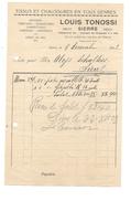 F27 - Facture Louis Tonossi Sierre Tissus Et Chaussures En Tous Genres Epicerie Débit De Sel 09.12.1927 - Switzerland