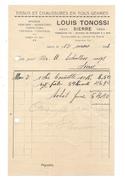 F28 - Facture Louis Tonossi Sierre Tissus Et Chaussures En Tous Genres Epicerie Débit De Sel 12.03.1928 - Switzerland