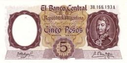 ARGENTINA 5 PESOS 1968 P-275c UNC SIGN: FABREGAS & DELFINO [AR275c3] - Argentinië