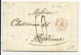 """1846 - LETTRE De NAPLES (ITALIE) Avec MARQUE D'ENTREE """"OUTREMER Par MARSEILLE"""" SUP Pour BORDEAUX - 1801-1848: Précurseurs XIX"""