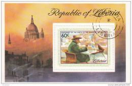 C205 Liberia 1975 Churchill Che Dipinge Foglietto Sheet Perf. Preoblt. - Liberia
