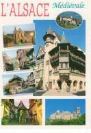 L'Alsace Médiévale 6 Vues: Riquewirh Ribeauvillé Strasbourg Eguisheim Haut Koenigsbourg Colmar - France