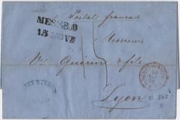Lettre Avec Cachet Paquebot Siciles Marseille De MESSINE à Lyon 1859 - Marcophilie (Lettres)