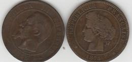 Deux 10c Bronze Rares - France