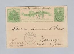 Heimat Schweiz GR ZERNEZ 1898-12-27 Ankunfts-Stempel Ganzsache Aus Haiti - Haïti