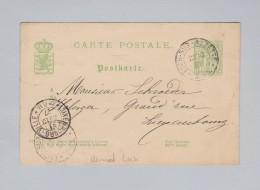 Heimat Luxemburg ESCH-SUR-ALZETTE 1887-10-22 Ganzsache 5c Nach Luxembourg-Ville - Entiers Postaux