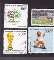 Côte D´Ivoire Used Oblitérés Set Complet Coupe Du Monde Fifa Word  2006 Soccer  YT 1253-6 Et BF 39;  Michel 1483-7