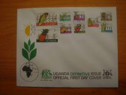 UGANDA 1975 UGANDAN CROPS Short Set To 2/- OFFICIAL ILLUSTRATED FDC (9stamps).