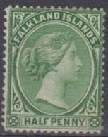 FALKLAND ISLANDS - 1892  ½d Queen Victoria. Scott 9. Mint Hinged - Falklandeilanden