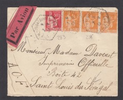 LETTRE DE PLOUEGAT-GUERAND POUR SAINT LOUIS DU SENEGAL(A.O.F.)AVEC E.A. BANDE DE 3 DU NO 286. - Francia