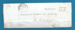 France - LAC De NARBONNE Vers RIVE-DE-GIER Du 14/10/1848 + P.P. Encadré En Rouge - Verso NIMES - ST ETIENNE - RIVE - Marcophilie (Lettres)