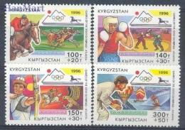 Kirgistan 1996 Mi 120-123 MNH -  1996 Atlanta Judo And Martial Arts Ballons Shooting / Archery Boxing Swimming / Watersp