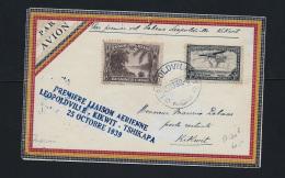 SPECIAL COVER - 1st FLIGHT LEOPOLDVILLE - KIKWIT   -  1939  -  BELGIAN CONGO