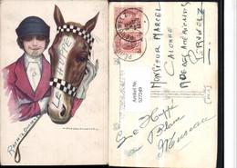 527249,Künstler AK NANNI Frau Pferd Pferdekopf Polo Glamour - Mode