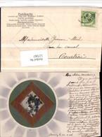 527267,Jugendstil Präge AK Art Nouveau Applikation Seiden AK Material Seidenkarte - Ansichtskarten
