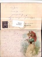 527266,Litho Frau M. Schirm Kleid Hut - Mode