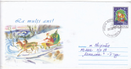 #T184  SANTA CLAUS, CHRISTMAS, SLED, COVER STATIONERY, 2002, ROMANIA. - Kerstmis