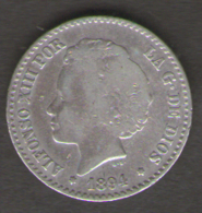 SPAGNA 50 CENT 1894 ALFONSO XIII AG SILVER - [ 1] …-1931 : Regno