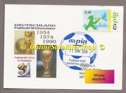 """Privatpost - PIN AG  - Gel. SK - Stempel: Fußball.WM Südafrika 2010  """"Deutschland Weltmeister 1954 74 90"""" - 2010 – Südafrika"""