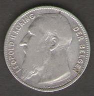 BELGIO 1 FRANK 1909 LEOPOLDO II AG SILVER - 1865-1909: Leopoldo II