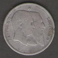 BELGIO 1 FRANC 1880 LEOPOLDO II AG SILVER - 1865-1909: Leopoldo II