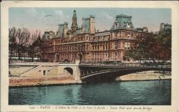 PARIS 4° , L' Hôtel De Ville & Le Pont D' Arcole ; Town Hall And Arcole Bridge , 1933 - District 04