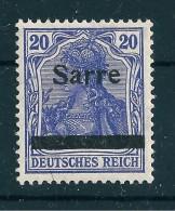 Saar MiNr. 8 ** Geprüft  - Aufdruck Verschoben   (sab07) - 1920-35 Saargebied -onder Volkenbond
