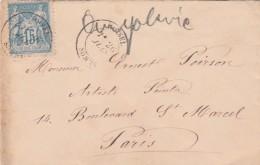 Yvert 90 Sage Sur Lettre ROISEL Somme 26/7/1884 Pour Artiste Peintre Paris - Marcophilie (Lettres)