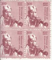 INDIA- 2016- Definitive Issue- Classical Musicians- BISMILLAH KHAN- MNH BLOCK OF 4