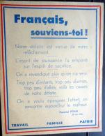 MARECHAL PETAIN   1940 REGIME DE VICHY TRACT DE PROPAGANDE FRANCAIS SOUVIENS TOI ! 1940 - Documents Historiques