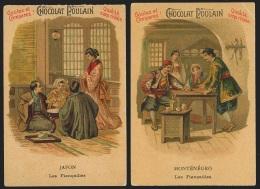 2 Chromos Chocolat Poulain - Le Mariage Chez Tous Les Peuples : Fiançailles Au Japon Et Au Monténégro - Poulain
