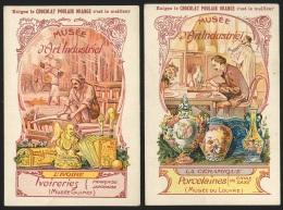 2 Chromos Chocolat Poulain - Musée D'Art Industriel : La Porcelaine & L'ivoire - Poulain