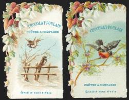 2 Chromos En Relief Chocolat Poulain - Fleurs Et Oiseaux - Poulain